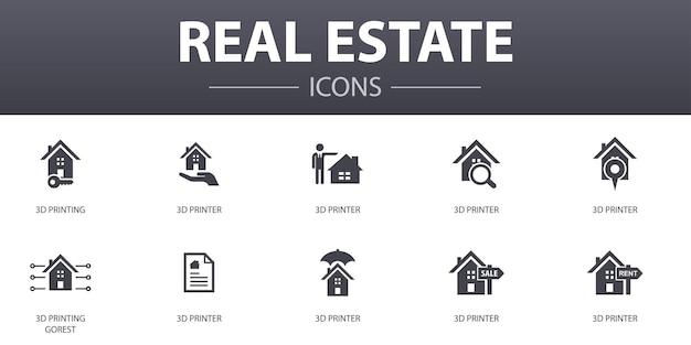 Zestaw ikon proste pojęcie nieruchomości. zawiera ikony takie jak nieruchomość, pośrednik w obrocie nieruchomościami, lokalizacja, nieruchomość na sprzedaż i inne, mogą być używane w internecie, logo, ui/ux