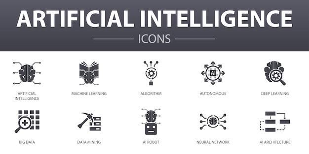 Zestaw ikon proste pojęcie sztucznej inteligencji. zawiera takie ikony, jak uczenie maszynowe, algorytm, głębokie uczenie, sieć neuronowa i inne, mogą być używane w sieci, logo, ui/ux