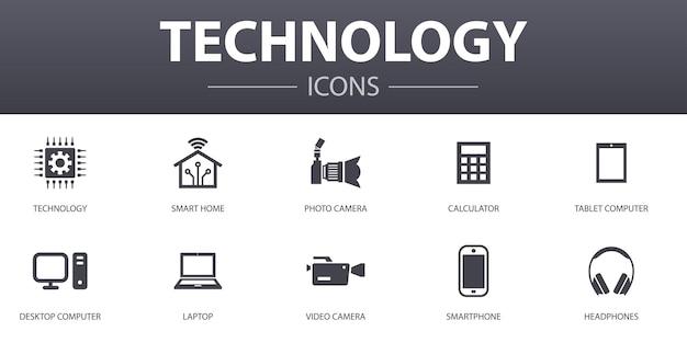Zestaw ikon proste pojęcie technologii. zawiera takie ikony, jak inteligentny dom, aparat fotograficzny, tablet, smartfon i inne, może być używany do sieci, logo, ui/ux