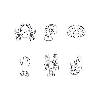 Zestaw ikon proste zwierzęta morskie