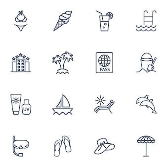 Zestaw ikon prostej linii podróży.