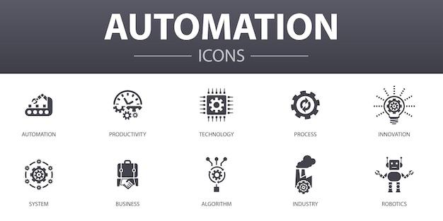 Zestaw ikon prostych koncepcji automatyzacji. zawiera takie ikony, jak produktywność, technologia, proces, algorytm i inne, może być używany w internecie, logo, ui/ux