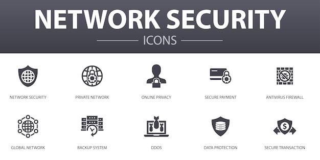Zestaw ikon prostych koncepcji bezpieczeństwa sieci. zawiera takie ikony, jak sieć prywatna, prywatność online, system tworzenia kopii zapasowych, ochrona danych i inne, mogą być używane do sieci, logo, ui/ux
