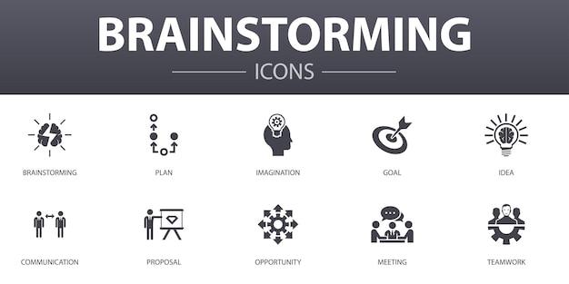Zestaw ikon prostych koncepcji burzy mózgów. zawiera takie ikony, jak wyobraźnia, pomysł, okazja, praca zespołowa i wiele innych, może być wykorzystana w sieci, logo, ui/ux