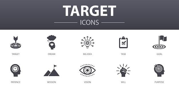 Zestaw ikon prostych koncepcji docelowych. zawiera ikony, takie jak wielki pomysł, zadanie, cel, cierpliwość i inne, mogą być używane w sieci, logo, ui/ux