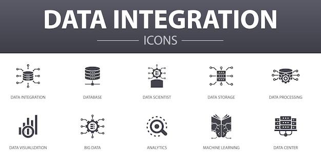 Zestaw ikon prostych koncepcji integracji danych. zawiera takie ikony jak baza danych, naukowiec danych, analityka, uczenie maszynowe i inne, może być używany do sieci, logo, ui/ux