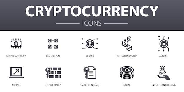 Zestaw ikon prostych koncepcji kryptowalut. zawiera takie ikony jak blockchain, branża fintech, górnictwo, kryptografia i inne, może być używany w sieci, logo, ui/ux