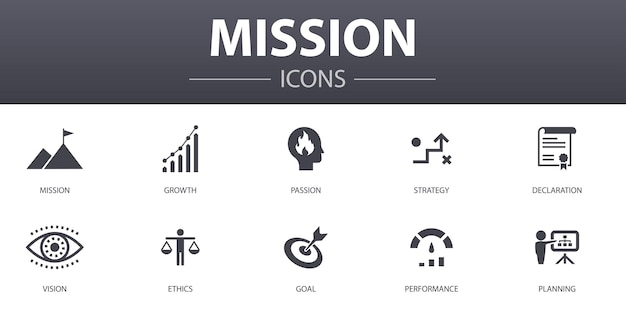Zestaw ikon prostych koncepcji misji. zawiera ikony, takie jak rozwój, pasja, strategia, wydajność i inne, mogą być używane w sieci, logo, ui/ux