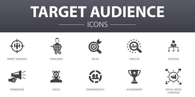 Zestaw ikon prostych koncepcji odbiorców docelowych. zawiera ikony takie jak konsumenckie, demograficzne, niszowe, promocyjne i inne, mogą być używane w sieci, logo, ui/ux