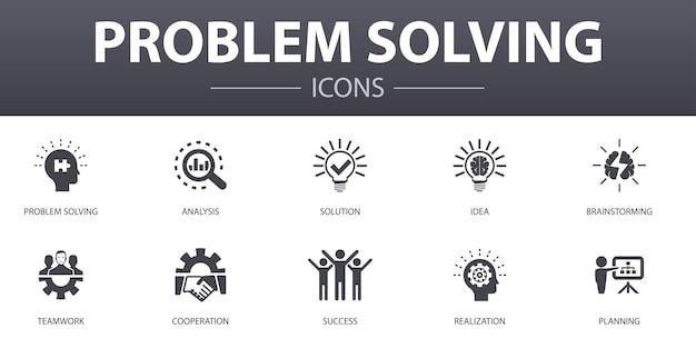 Zestaw ikon prostych koncepcji rozwiązywania problemów. zawiera ikony takie jak analiza, pomysł, burza mózgów, praca zespołowa i inne, mogą być używane w sieci, logo, ui/ux