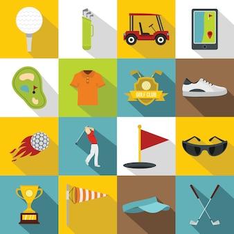 Zestaw ikon przedmiotów golfowych, płaski