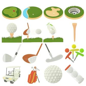 Zestaw ikon przedmiotów golfowych