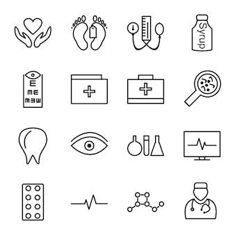 Zestaw ikon przedmiotów medycznych