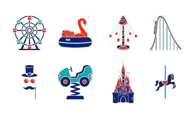 Zestaw ikon przejażdżki park rozrywki linii sztuki.