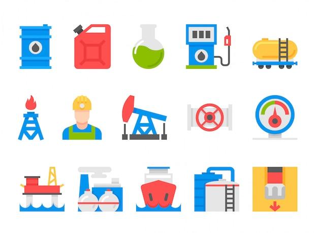 Zestaw ikon przemysłu ciężkiego, zasobów górniczych, cystern i paliw, przemysłu energetycznego.
