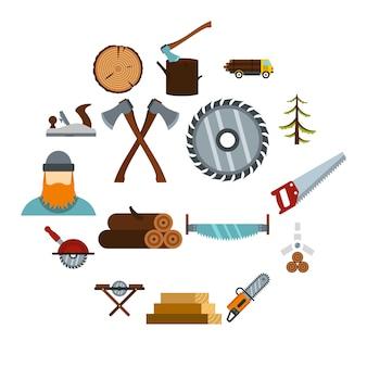 Zestaw ikon przemysłu drzewnego, płaski