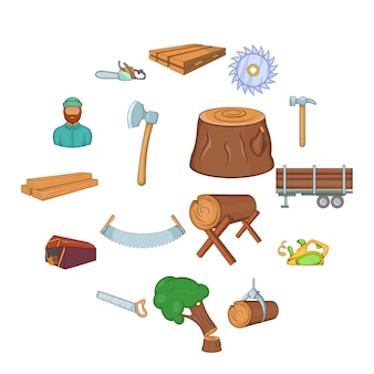 Zestaw ikon przemysłu drzewnego, stylu cartoon