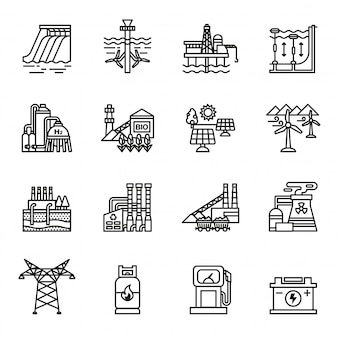 Zestaw ikon przemysłu energetycznego
