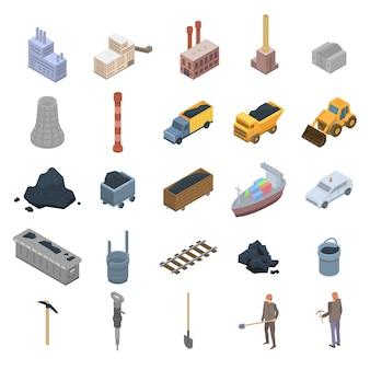 Zestaw ikon przemysłu węglowego, styl izometryczny