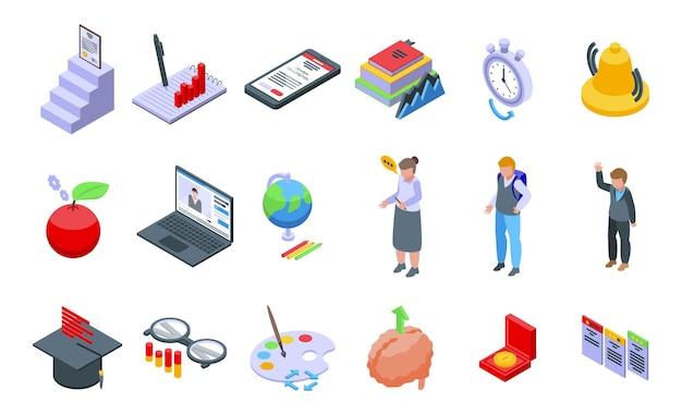 Zestaw ikon przepływu pracy edukacji. izometryczny zestaw ikon wektorowych przepływu pracy w edukacji do projektowania stron internetowych na białym tle