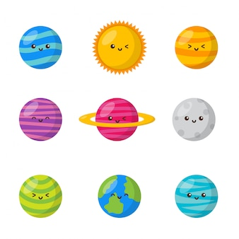 Zestaw ikon przestrzeni kawaii. styl kreskówek planet. odosobniony