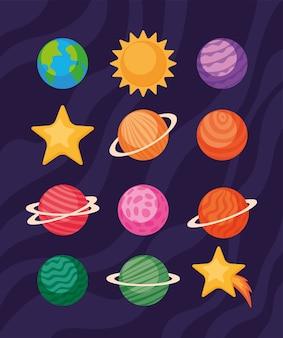 Zestaw ikon przestrzeni kosmicznej i futurystyczny motyw