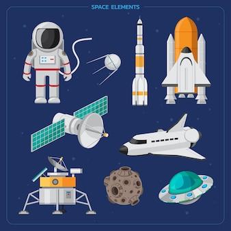 Zestaw ikon przestrzeni zestaw kolorowych elementów przestrzeni kreskówek kosmici planety asteroidy statki kosmiczne wszechświat.