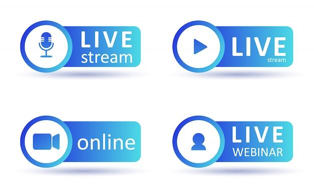 Zestaw ikon przesyłania strumieniowego na żywo. symbole i przyciski gradientu transmisji na żywo, transmisji, webinarów online. wytwórnia programów telewizyjnych, programów, filmów i występów na żywo. płaskie ilustracji wektorowych. eps10.