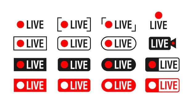 Zestaw ikon przesyłania strumieniowego na żywo