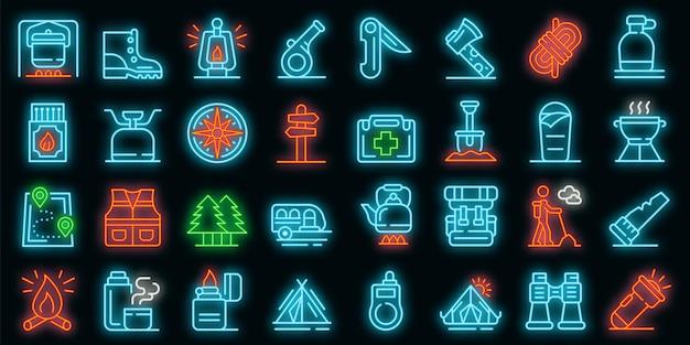 Zestaw ikon przetrwania. zarys zestaw ikon wektorowych przetrwania w kolorze neonowym na czarno
