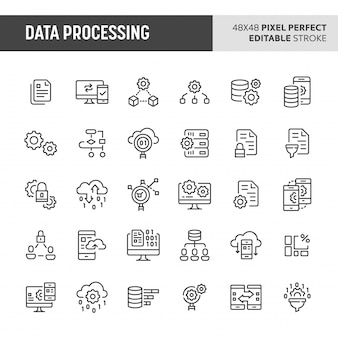 Zestaw ikon przetwarzania danych