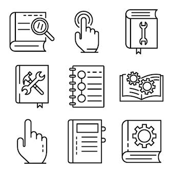 Zestaw ikon przewodnika użytkownika, styl konspektu
