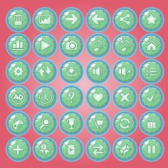 Zestaw ikon przycisków dla interfejsów gry.