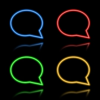 Zestaw ikon przycisków neonowych. ilustracja