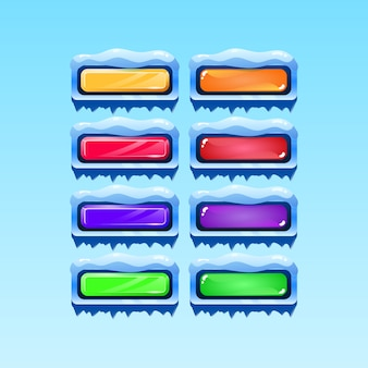 Zestaw ikon przycisku bożego narodzenia zima gui dla elementów aktywów interfejsu użytkownika gry