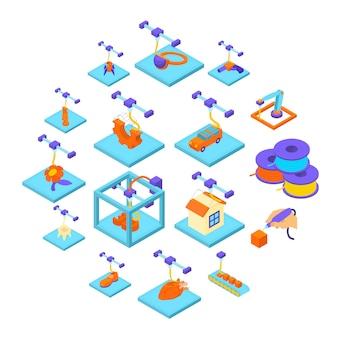 Zestaw ikon przycisku drukowania 3d, izometryczny styl