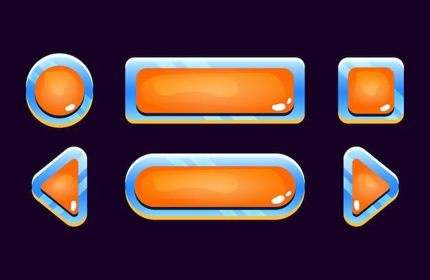 Zestaw ikon przycisku galaretki kosmicznej gui dla elementów zasobów interfejsu gry