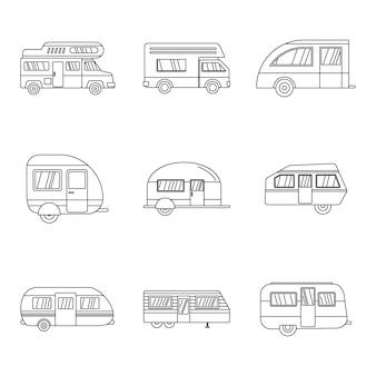 Zestaw ikon przyczepy kempingowej samochodu