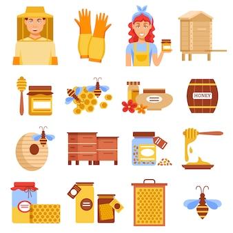 Zestaw ikon pszczelarstwa miodu