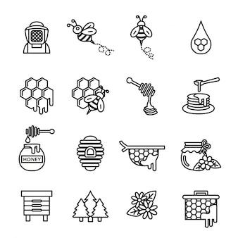 Zestaw ikon pszczół i miodu. cienka linia ilustracji wektorowych.