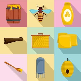 Zestaw ikon pszczół miodnych, płaski