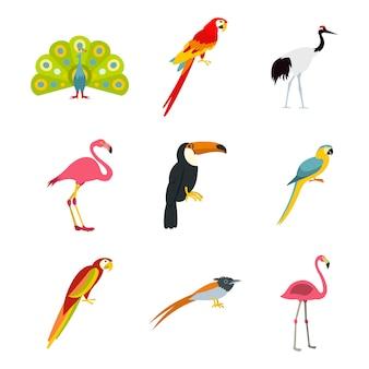 Zestaw ikon ptaków egzotycznych. płaski zestaw egzotycznych ptaków wektor zbiory ikon na białym tle