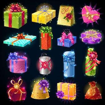Zestaw ikon pudełka na prezenty