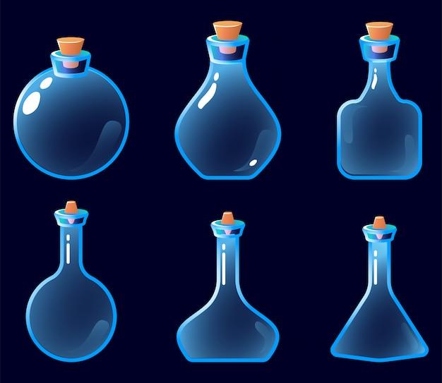Zestaw ikon pustej butelki mikstury dla elementów zasobów interfejsu gry