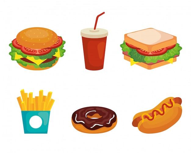 Zestaw ikon pyszne fast foody