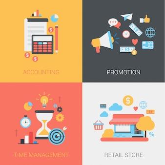 Zestaw ikon rachunkowości, promocji, zarządzania czasem i sklep detaliczny.