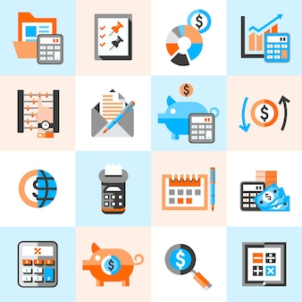 Zestaw ikon rachunkowości