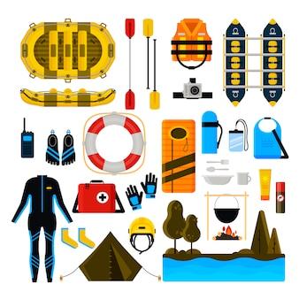 Zestaw ikon rafting wektor ilustracja na białym tle