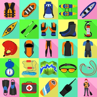Zestaw ikon raftingu. płaski zestaw wektor rafting