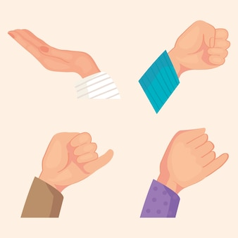 Zestaw ikon rąk przyjaźni